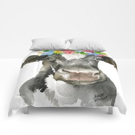 Black and White Cow with Floral Crown Watercolor Painting Comforters