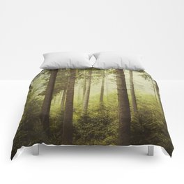 Fir Forest in Fog Comforters