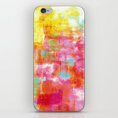 OFF THE GRID 2 Colorful Pink Pastel Neon Abstract Watercolor Acrylic Textural Art Painting Rainbow iPhone & iPod Skin