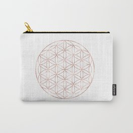 Mandala Rose Gold Flower of Life Carry-All Pouch