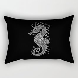 Intricate Gray and Black Tribal Seahorse Design Rectangular Pillow