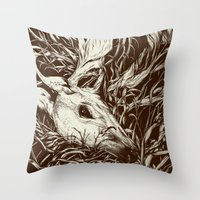 la Throw Pillows featuring doe-eyed by Teagan White
