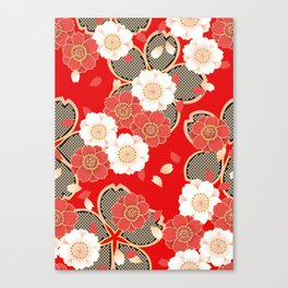 Japanese Vintage Red Black White Floral Kimono Pattern Canvas Print