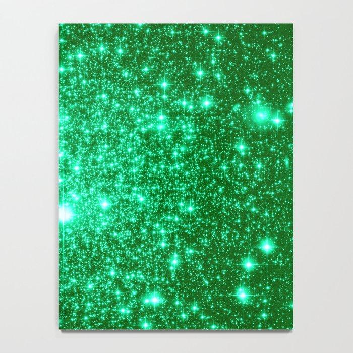 Emerald Green Glitter Stars Notebook