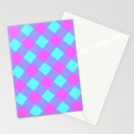 Orchid Aqua Gingham Plaid Stationery Cards