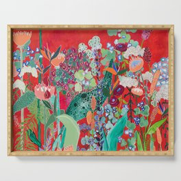 Red floral Jungle Garden Botanical featuring Proteas, Reeds, Eucalyptus, Ferns and Birds of Paradise Serving Tray