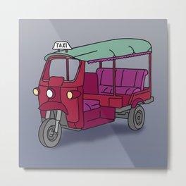Red tuktuk / autorickshaw Metal Print