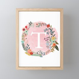 Flower Wreath with Personalized Monogram Initial Letter T on Pink Watercolor Paper Texture Artwork Framed Mini Art Print
