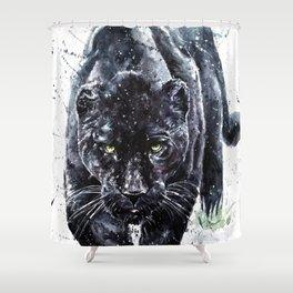 Panther watercolor painting predator animals puma jaguar wild & fre Shower Curtain
