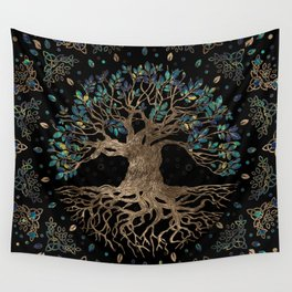Tree of life -Yggdrasil Golden and Marble ornament Wall Tapestry