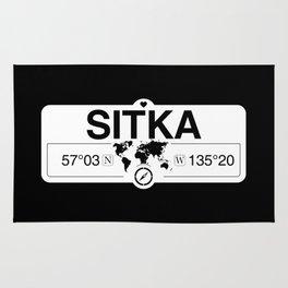 Sitka Alaska Map GPS Coordinates Artwork with Compass Rug