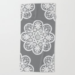 Floral Doily Pattern   Grey and White Beach Towel
