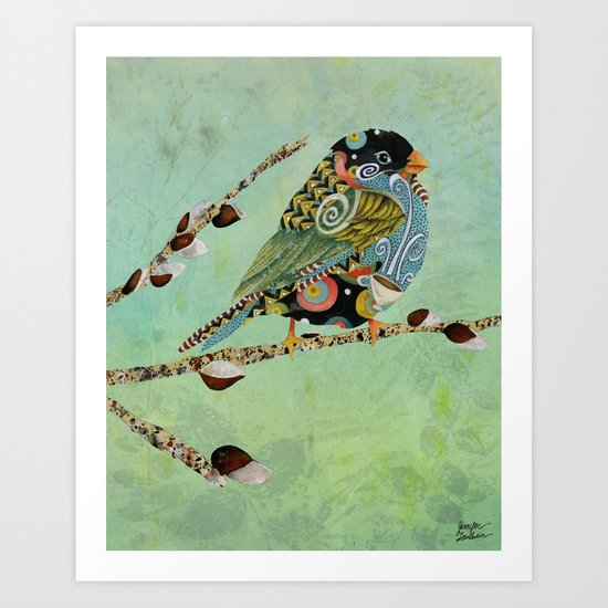 Cafe Swirly Bird 5 Art Print