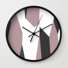 Gray Pink and White abstract Wall Clock