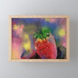 Strawberry Watercolor Framed Mini Art Print