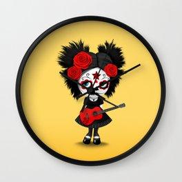 Red and Yellow Big Eyes Sugar Skull Girl Playing the Guitar Wall Clock