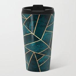 Deep Teal Stone Metal Travel Mug