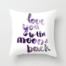 "PERIWINKLE ""LOVE YOU TO THE MOON AND BACK"" QUOTE Throw Pillow"