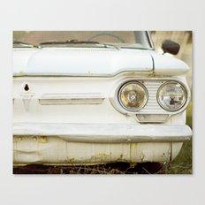 Vintage Rustic Car Light Blue White Canvas Print