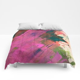 Expand [1]: a colorful, minimal abstract piece in pinks, green, and blue Comforters