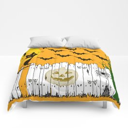 Black Cat on a Spooky Fence - Halloween Comforters