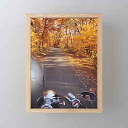 See the world from the back of a motorcycle Framed Mini Art Print