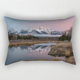 Snowy Pink Sunrise in the Tetons Rectangular Pillow