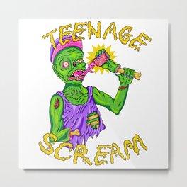 Teenage Zombie Scream Metal Print