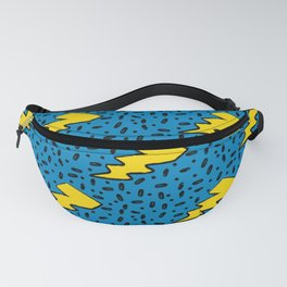 90's Retro Blue and Yellow Lightning Bolt Pattern Fanny Pack