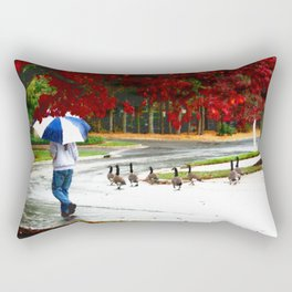 Geese In Watchful Lead... Rectangular Pillow