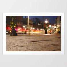 Downtown Blacksburg Christmas Art Print