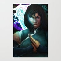 legend of korra Canvas Prints featuring Korra by Nicole M Ales