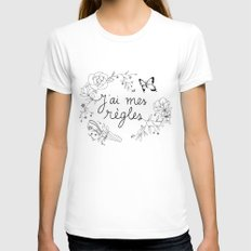 J'AI MES RÈGLES / I'M ON MY PERIOD Womens Fitted Tee MEDIUM White
