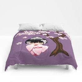 Japanese Bride Kokeshi Doll on Purple Comforters