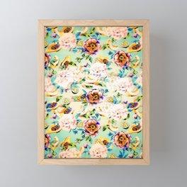 Glitch vintage tropical floral fruit Framed Mini Art Print