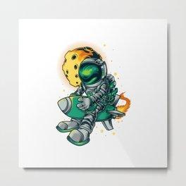 Astronout Rocket Illustration Metal Print