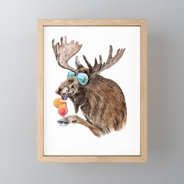 Moose on Vacation Framed Mini Art Print