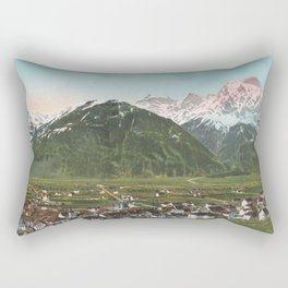 Vintage Swiss Mountains Rectangular Pillow