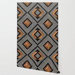 Urban Tribal Pattern No.2 - Concrete and Wood Wallpaper