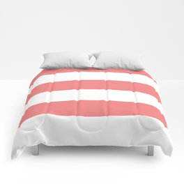 Wide Horizontal Stripes - White and Coral Pink Comforters
