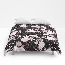 Blush pink white black rustic abstract floral illustration Comforters
