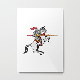 Knight Lance Steed Prancing Isolated Cartoon Metal Print