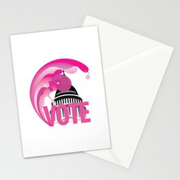 Vote: Pink Wave Stationery Cards