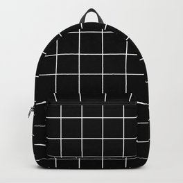 Grid Pattern Line Stripe Black and White Minimalist Geometric Stripes Lines Backpack