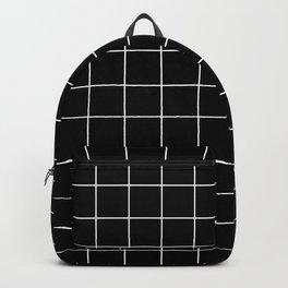 Grid Pattern Line Stripe Black and White Minimalist Geometric Stripes Lines Backpack