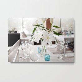 White Lily flowers bridal decoration Metal Print