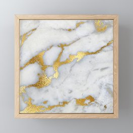 White and Gray Marble and Gold Metal foil Glitter Effect Framed Mini Art Print