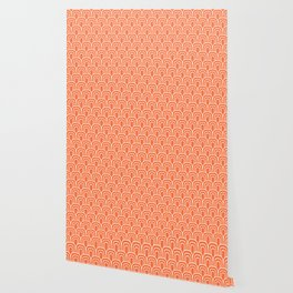 Rainbow Scallop Pattern Orange Wallpaper