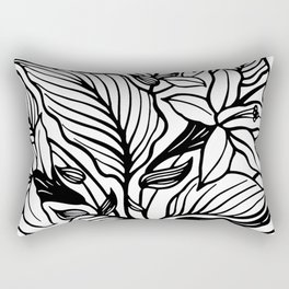 White Black Floral Minimalist Rectangular Pillow
