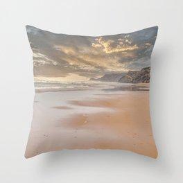 Sunset On Deserted Beach  Throw Pillow